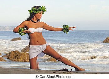 Polynesian Dancer - beautiful young Polynesian woman...