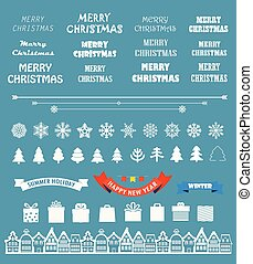 Christmas season vector elements collection. Greeting card...