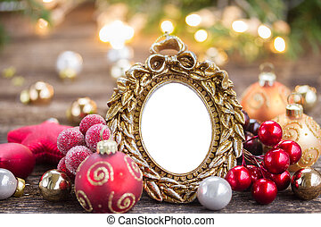 christmas frame - christmas empty frame with decorations on...