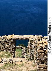 Chinkana, Arqueológico, sitio, en, ISLA, del, Sol,...