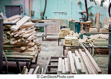 Furniture industrial factory with timber storage and lumber...