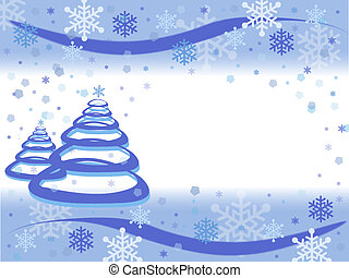 Blue abstract Christmas tree with snowflake background