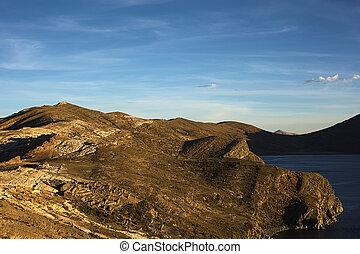 ISLA, del, Sol, (Island, de, el, Sun), en, lago, Titicaca,...