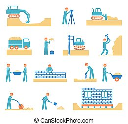 Set of builder construction industry icons - Set of builder...
