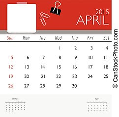 2015 calendar, monthly calendar template for April. Vector...