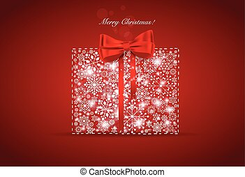 Christmas background with gift box and snowflakes, vector...