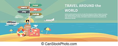 Icons set of traveling and planning vacation - Icons set of...