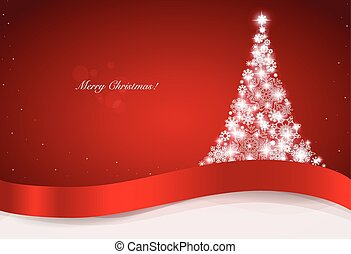 Christmas greeting card with Christmas tree, vector...