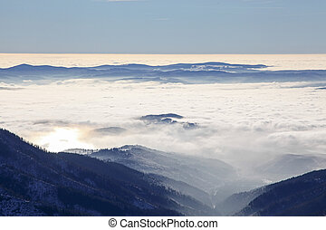 Inversion in Low Tatras mountains, Slovakia