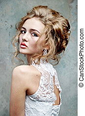 Wedding dress on fashion model