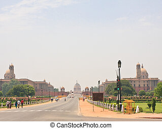 Esplanade Rajpath. The Indian government buildings. Residence of