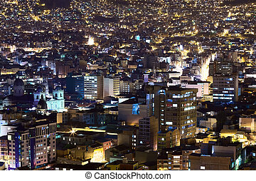 City Center of La Paz, Bolivia at Night - View over the city...
