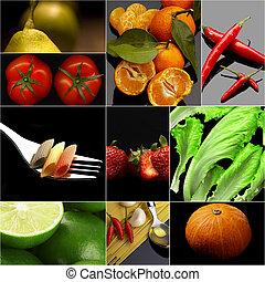 Organic Vegetarian Vegan food collage dark - Organic...