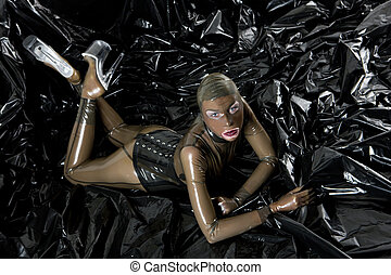 woman wearing latex clothes