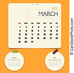 2015 calendar, monthly calendar template for March. Vector...