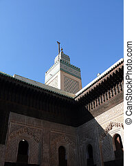 Minaret of the Bou Inania Madrasa in Fes - The minaret and a...