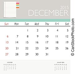 2015 calendar, monthly calendar template for December Vector...