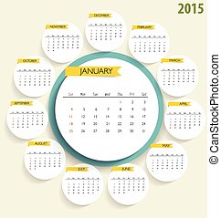 2015 calendar. Vector illustration.