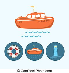 Set icons with colored boat, life buoy , lighthouse, vector...