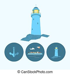 Set icon with lighthouse, anchor and cargo container ship,...