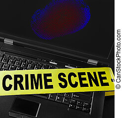 Computer crime - fingerprint on a laptop with crime scene...