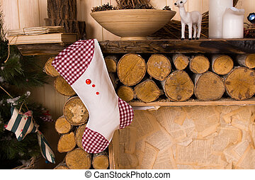 Christmas Stocking Hanging from Rustic Mantle - Gingham...