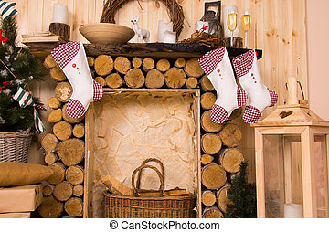 Christmas Stockings Hanging from Rustic Mantle - Christmas...