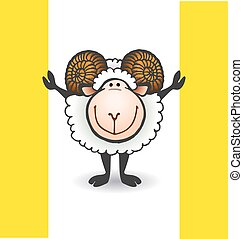 sheep with big horns - vector illustration for sheep with...