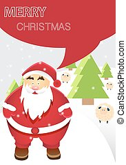Santa Claus with Merry Christmas Winter Landscape Illustration with Snowflakes and Sheeps, A4 Size