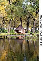 gazebo by the pond