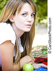 beautiful young woman outdoor - beautiful young woman...