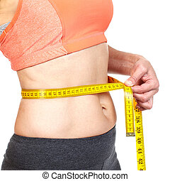 Woman measuring her body Diet and healthy lifestyle