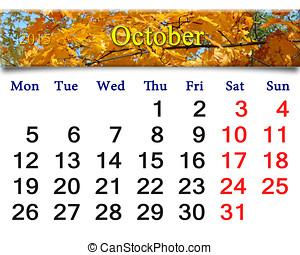 2015, feuilles, octobre, calendrier, jaune