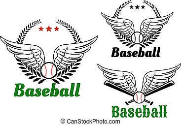 Baseball emblems with angel wings, ball, laurel wreath and...