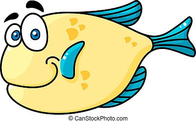Cartooned smiling fish with big eyes - Cartooned yellow and...