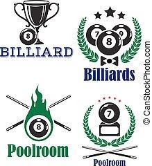 Billiards or poolroom emblems