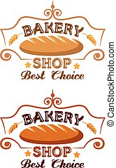 Bakery shop label with buster baton, cereal ears and text
