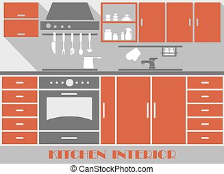 Modern kitchen interior in flat style