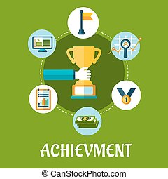 Business, achievment and success flat icons for conceptual...