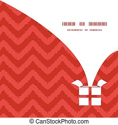 Vector colorful ikat chevron Christmas gift box silhouette...