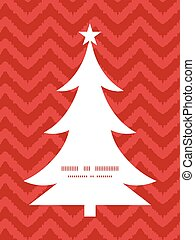 Vector colorful ikat chevron Christmas tree silhouette...