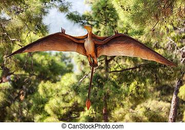 Pterodáctilo, Dinosaurio, vuelo, en, bosque,