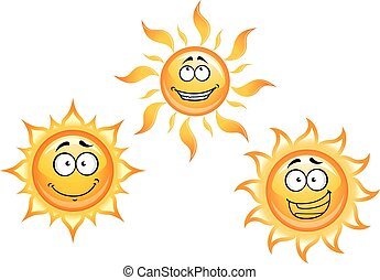 Cartoon sun characters with funny faces for summer vacation,...