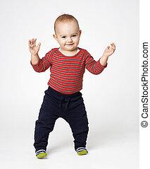 cute boy standing ovation - cute little boy standing ovation...