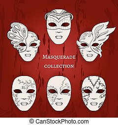 Masquerade. Set of 6 hand drawn masks
