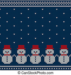 Winter Holiday Seamless Knitted Pattern with Snowmans -...