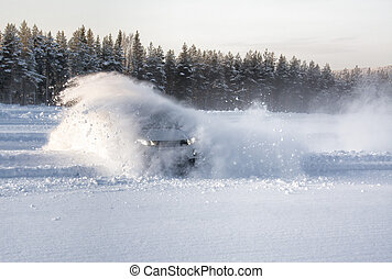 Car snow drift explosion - A vechical sliding into deep snow...