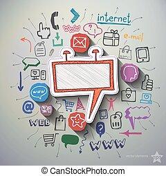 Annonsering, collage, med, ikonen, bakgrund,