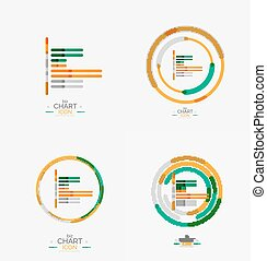 Line graph, chart icon, minimal geometric design