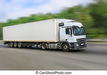 blanco, camión, Va, en, el, carretera,